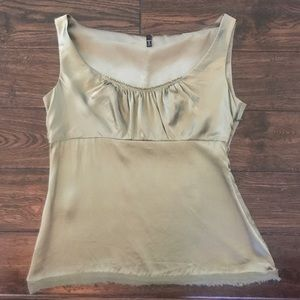 TAHARI Olive Green Sleeveless Silk Blouse